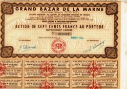 51-GRAND BAZAR DE LA MARNE. Anc Maison PITOISET. CHALONS Sur MARNE. 1935 - Actions & Titres