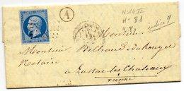 N°14 II,bleu Sur Lilas Pâle,L.A.C. De MAILLI (80),10 Mars 1861,pour LUSSAC Les Chât. - Postmark Collection (Covers)