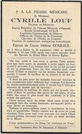 Doodsprentje  *  Louf Cyrille (° Neuve-Eglise 1882  / + Oostende 1956)  X Coulier Hélène ((Docteur En Médecine) - Religion & Esotericism