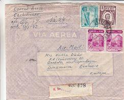 Pérou - Lettre Recom De 1947 ° - Oblit Trujillo - Exp Vers Gentofte Au Danemark - Cachets De Lima , Miami Et New York - Peru