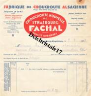 67 STRASBOURG BAS-RHIN 1937 Fabrique De Choucroute ALSACIENNE Navets Confits Propr. Philippe WALTZ Fils Marque FACHAL - 1900 – 1949