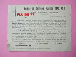 @ Carte Invitation , Comité Du Souvenir Maurice MARLAND ( GRANVILLE 50), 21 Juillet 1946 , Inauguration D'une Stèle  @ - Documents