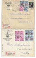 2 Lettres RECOMMANDEES BXL 7/8/1948 S.28-38-40 Et 31 /Waremme - BXL.10/5/46 Bloc De 4 S.28 Et 40 V/BXL. - Service