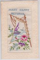 Carte Postale Gaufrée Brodée Fleur Mer Voilier Many Happy Returns Embroidered Postcard - Bordados