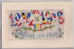 Carte Postale Gaufrée Brodée Militaire 1914-1918 Carton Dans Pochette Souvenir From France Embroidered Postcard WW1 - Brodées