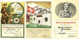Schützen Schweiz Lot Mit 10 Anerkennungskarten Ehrenmeldungen I-II - Waffenschiessen