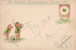 Schützenfest Dresden (O8000) XIII. Deutsches Bundesschießen Schweine Personifiziert Lithographie / Prägedruck 1900 I-II  - Waffenschiessen