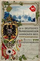 Schützenfest Hannover (3000) 14. Deutsches Bundesschießen  Prägedruck 1903 I-II - Waffenschiessen