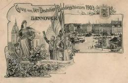 Schützenfest Hannover (3000) 14. Deutsches Bundesschießen 1903 II (Stauchung, Eckbug) - Waffenschiessen