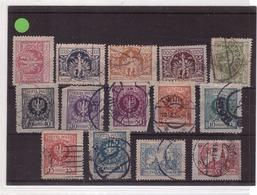 POLOGNE - Timbres Oblitérés - Armoiries 1919 - Bel Ensemble De 14 Timbres - ....-1919 Übergangsregierung