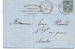 Lettre Avec Corres. écrite à MONTS  Convoyeur  PORT DE PILES A TOURS  1889  POUR NANTES - Marcophilie (Lettres)