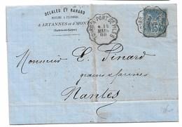 Lettre Avec Corres. écrite à ARTANNES Convoyeur  TOURS  A PORT DE PILES  1888  POUR NANTES - Marcophilie (Lettres)