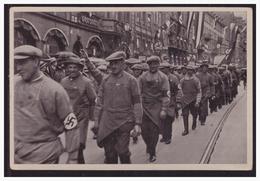 """DT- Reich (003402) Propaganda Sammelbild """"Deutschland Erwacht"""" Bild 133,Der Deutsche Arbeiter Maschiert Mit Adolf Hitler - Germany"""