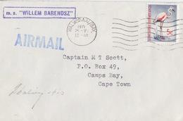 Polaire Sud-africain, 291 Swa (flamand Rose) Obl. Walvisbay Le 25 V 71 + M.s Willem Barendsz Et Signature - Briefe U. Dokumente