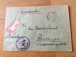 K3 Allierte Besetzung 1949 R-Postsache Von Konstanz Nach Reutlingen Postscheckamt - Zone Française