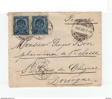 Sur Enveloppe 2 Timbres Mexico 5 C. Aigle CAD Aquascalientes Amn. Coreos 1902. C. Paris Et St Pierre De Chignac. (1136x) - Mexiko