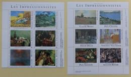 12 Timbres En Feuillet Les Impressionnistes Musée Du Louvre Et D'Orsay Van Gogh Cézanne Degas Monet Renoir - Impressionisme