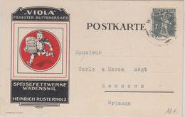 Schweiz - 7 1/2 C. Tellknabe Illustr. Firmenkarte Viola Wädenswil - Grisons 1918 - Suisse