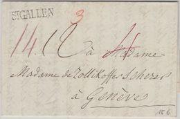 Schweiz - St. Gallen L1  Vorphilabrief N. Genf 1834 Div. Taxierungen - M. Inhalt - Schweiz