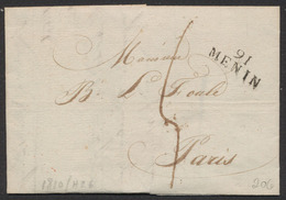 """Précurseur - LAC Datée De Wevelghem (Wevelgem, 1810) + Obl Linéaire 91 / MENIN Et Port """"4"""" > Paris . Verso Cachet Dateur - 1794-1814 (French Period)"""