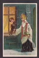 CPA Saint Nicolas Père Noël Santa Claus Gaufré Embossed Circulé - San Nicolás