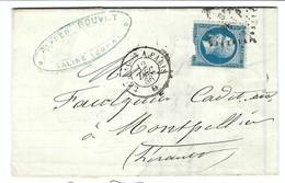 FRANCE 1866: LAC De Salins (Jura) Pour Montpellier Avec Le Y&T 22 Et Obl. Ambulants De Nuit ''BE3P Besançon à ParisGC110 - 1862 Napoleon III