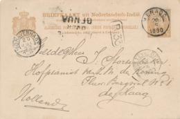 Nederlands Indië - 1890 - 7,5 Cent Cijfer, Briefkaart G9 Van KR Menado Via Genua Naar Hofpianist Van De Koning Den Haag - Indes Néerlandaises