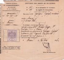 21-Direction Générale De L'Enregistrement Des Domaines & Du Timbre .Quittance..Beaune..(Cote-d'Or)..1866 - Frankreich