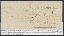 """Précurseur - LAC Datée De Gend (1803) + Port """"2"""" > Antwerpen, Marque Du Bureau De Départ N'a Pas été Apposée. - 1794-1814 (French Period)"""