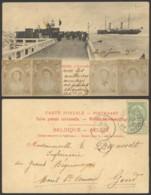 Belgique 1901 - Découpe Collées Sur Carte Postale Ostende Vers Gand - 1893-1900 Thin Beard