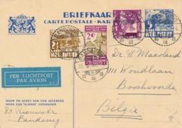 Nederlands Indië - 1935 - 5 Cent Karbouwen, Briefkaart G56 + 3 Zegels LP Van LB Bandoeng/5 Naar Boschvoorde / België - Niederländisch-Indien
