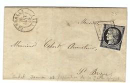 FRANCE 1849:  LAC De Lamballe Pour St Brieuc Avec Le Y&T 3a (noir Sur Blanc), CAD Du 26 Janvier Et Obl. Grille - 1849-1850 Cérès