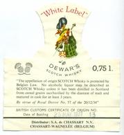 Oud Etiket / Ancienne étiquette Whisky White Label Dewar's 1977 - Whisky