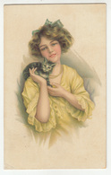 Woman And Cat Old Postcard Posted 1916? Brčko K.u.k. Bosnia And Hercegovina To Vrbovsko B200510 - Illustrators & Photographers