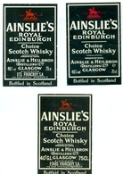 3 Oude Etiketten / 3 Anciennes étiquettes Whisky Ainslie's - Whisky