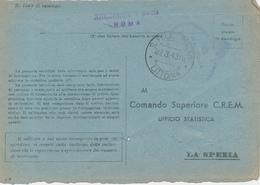 1943 LA POSTA DAI FARI SAN FELICE CIRCEO R SEMAFORO MONTECIRCELLO OVALE LINEARE E DC VIOLA SU FRANCHIGIA R MARINA - Military Mail (PM)
