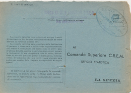 1943 LA POSTA DAI FARI SARDEGNA LA MADDALENA SEMAFORO VECCHIA OVALE LINEARE E DC IN VERDE AZZURRO SU FRANCHIGIA MARINA - Military Mail (PM)
