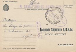 1940 LA POSTA DAI FARI CIVITAVECCHIA SEMAFORO FOSSO CUPO OVALE LINEARE E DC VIOLA SU FRANCHIGIA MILITARE R MARINA - Posta Militare (PM)