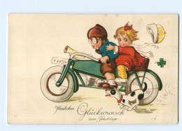 U2381/ Kinder Fahren Motorrad  Geburtstag Litho AK 1925 - Motorbikes