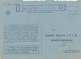 1942 LA POSTA DAI FARI RODI EGEO R SEMAFORO MONTE SANTO STEFAO RODI CARTELLA E DC VIOLA SU FRANCHIGIA R MARINA - 1900-44 Vittorio Emanuele III