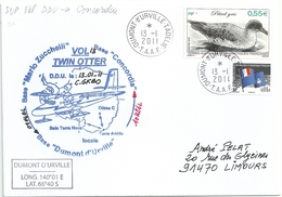 YT 532 Pétrel Gris - Courrier Par Avion Avion Twin Otter - Dumont D'Urville - Terre Adélie - 13/01/2011 - Briefe U. Dokumente