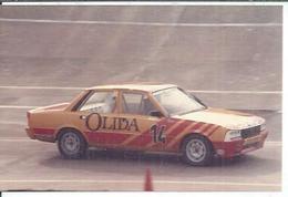 """PHOTO D'ARCHIVES : COURSE AUTOMOBILE - MONTLHERY 1986 -   """" 505 PEUGEOT TURBO  """" Pilote:  Pierre DE THOISY - N° 14 - Montlhery"""