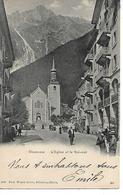 74 - CHAMONIX - L'Eglise Et Le Brévent  (Rue De L'Eglise Animée - Précurseur Années 1900) - Chamonix-Mont-Blanc