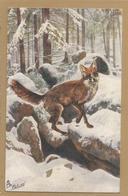 "CHASSE - HUNTING -  Renard Gibier Dans La Neige - Raphael Tuck & Sons "" Oilette "" Serie Jagd Wild N° 282 - Chasse"