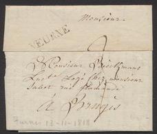 """Précurseur - LAC Datée De Furnes (1818) + Obl Linéaire VEURNE Et Port """"3"""" > Bruges - 1815-1830 (Periodo Holandes)"""
