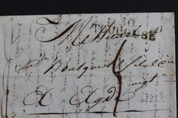 1813 LAC TOULOUSE 30 MARQUE LINEAIRE POUR AGDE  TAXE MANUSCRITE 4 DECIMES - Marcophilie (Lettres)