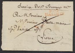 """Précurseur - LAC Datée (1810) + Obl Linéaire Rouge P93P / MALINES > Lierre. Inscription En En-tête """"Service.. - 1794-1814 (French Period)"""
