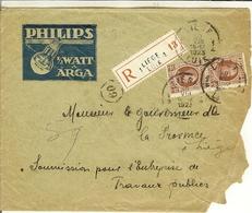 "Recommandé De Liège En  1923 Avec Nr 201 ""  PHILIPS 1/2WATT ARGA ""  . - Belgio"