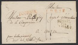 """Précurseur - LSC (8gr) + Obl Linéaire Rouge DOORNIK Et L.P.B.1., Port II > La France + Encadré Noir """"Pays-Bas Par Lille"""" - 1794-1814 (French Period)"""