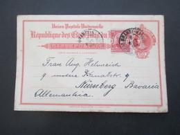 Brasilien 1914 Ganzsache Mit Zusatzfrankatur Rio Grande Aus Dem Deutschen Konsulat Nach Nürnberg Gesendet - Cartas
